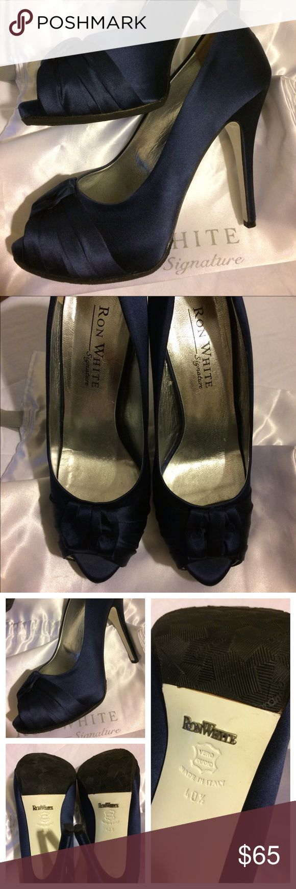 """Ron White Designer Satin Navy Heels Ron White Signature designer heels, retailed at $585. Style is """"Jessica."""" Size 40.5.  Classic navy color.  Previously worn just a handful of times, in great condition.  No snags or stains on satin. 5"""" heel.  Leather soles with Vibram coating. These are the most comfortable heels I've ever worn because of the Vibram. I just  Comes with box and dust bag. Ron White Shoes Heels"""