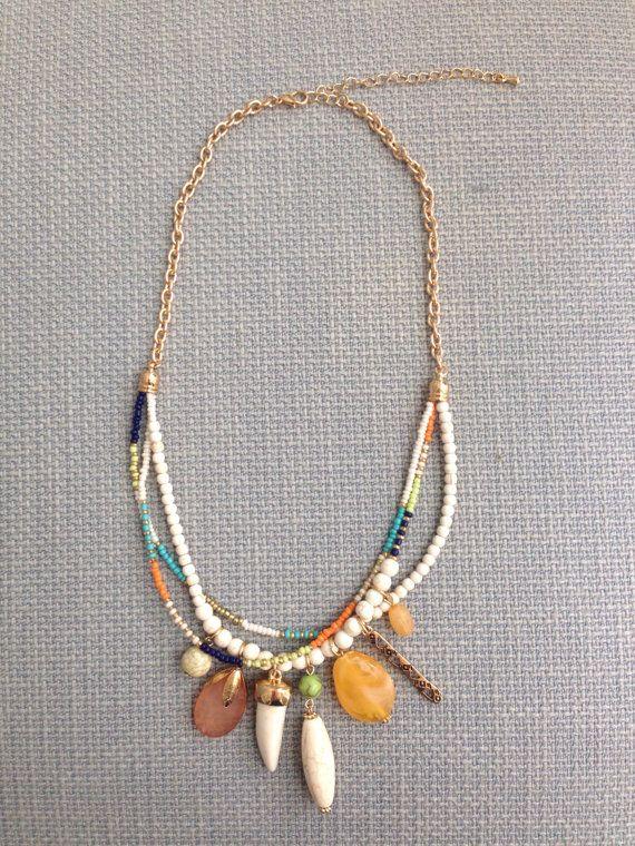 Graine perle pendentif collier Boho déclaration Bohème par MaiKiwi