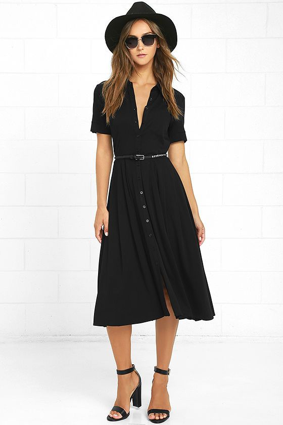 Make your presence known in the Tango in the Night Black Midi Dress! This classic collared dress has short sleeves (with button tabs), a full button placket, and a front patch pocket. Soft rayon (with a bit of stretch) shapes a midi length skirt. Belt not included.