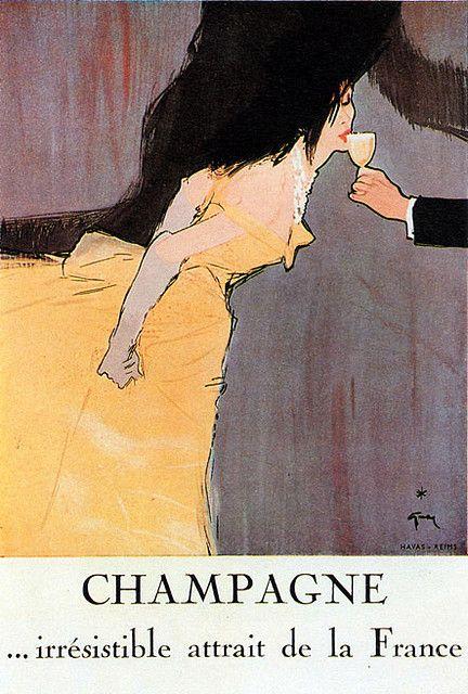 Champagne. illustration Gruau