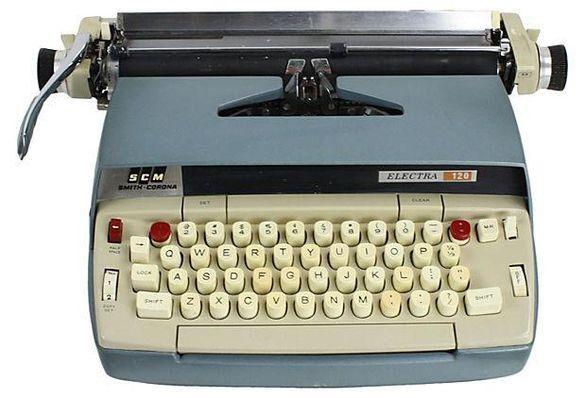 1960s Blue Smith-Corona Typewriter on Chairish.com