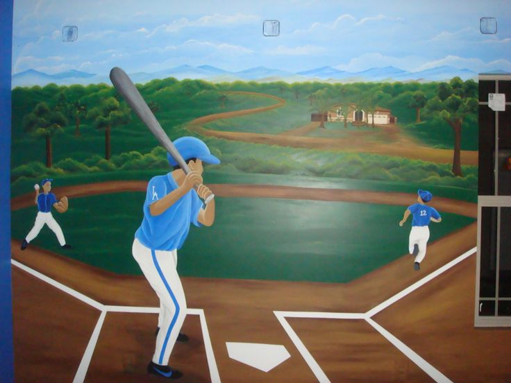 Baseball Theme Mural In A Boy RoomParamount Ca