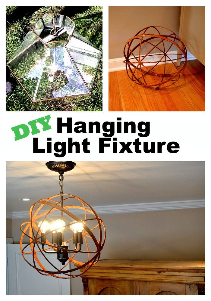 Making a hanging light fixture from an old light and a metal orb. #diy www.chatfieldcourt.com
