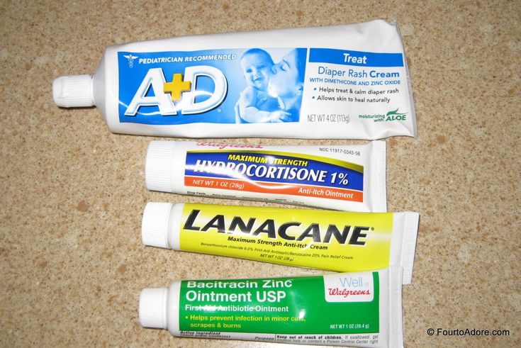 Diaper rash cream recipe recommended by our pediatrician for a tough rash.  Use equal parts of the four creams pictured: A & D, hydro cortisone, lanacane, bacitracin.
