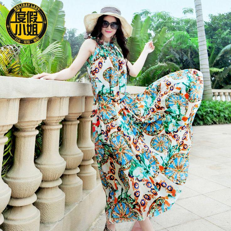 Мисс отдых богемный пляж платье 2014 летнее платье летом большой размер женщин был тонкий шифон платье-tmall.com Lynx
