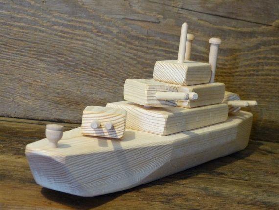 Wood Toy Battleship WW2 Wooden Toys ship Navy por OutOnALimbADK