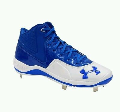 Men's Under Armour Ignite Mid ST CC Blue White Metal Baseball Cleats Size 13