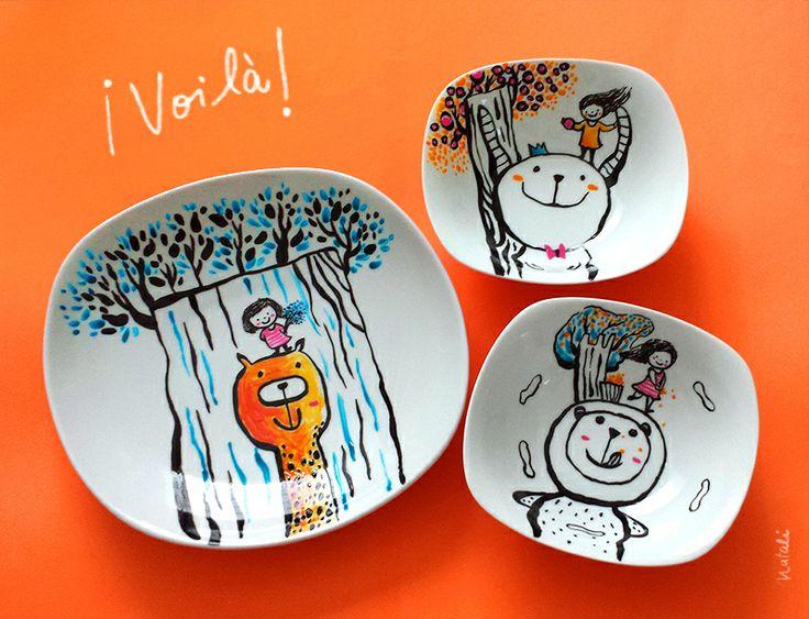 Hand painted plates - platos pintados a mano / Natalí Sejuro Aliaga - Natalúdica®