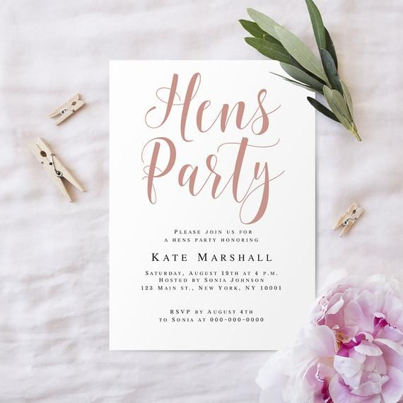 Hens Party Invitation Template Hens Party Invite Editable Etsy Hens Party Invitations Rose Gold Invitations Bridal Party Invitations