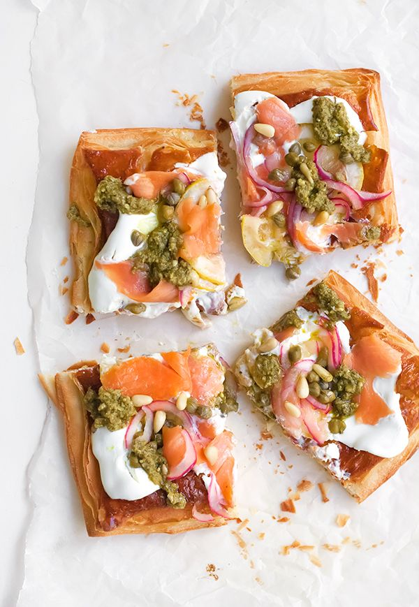 Cold Smoked Trout Pizza Puff Pastry Tart _ When it comes to smoked fish, the most will agree that salmon is the king. - Palachinka