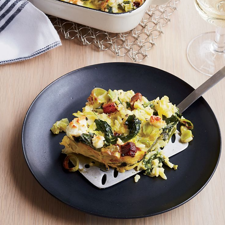 Custardy Baked Orzo with Spinach, Bacon and Feta   Recipe ...