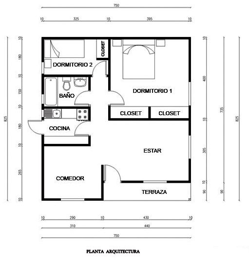 Plano de casa 58m2 juan carlos sus recetas pinterest for Medidas de mobiliario de una casa