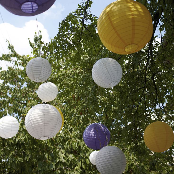 Colorful Paper Lanterns hanging from tree branches make for a beautiful display. http://www.lumabase.com/categories/paper-lanterns
