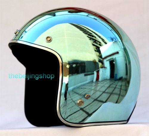 DOT Bubble Motorcycle Helmet (plating light blue)