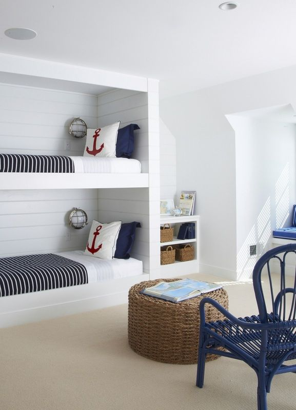 Love this look for boys room.  I'd like to do white, navy, red in their rooms.  maybe natural color rugs.  nautical, american classic touches
