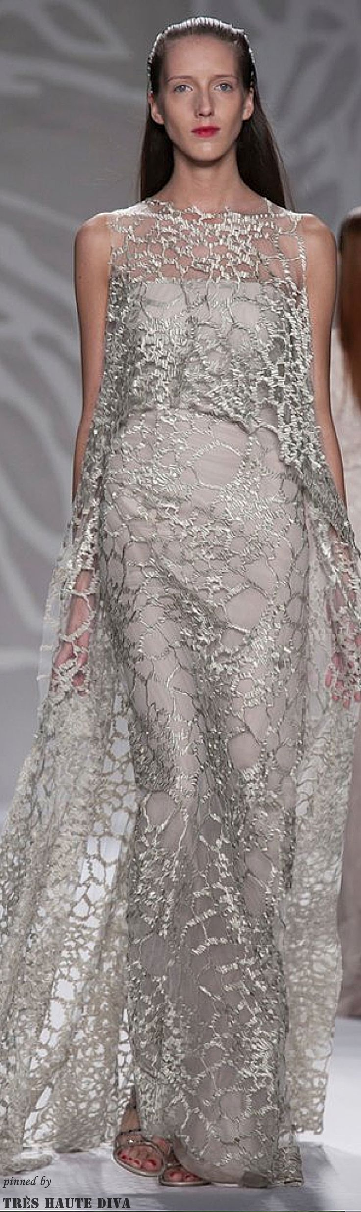 #NYFW Monique L'huillier Spring 2014 RTW http://www.nytimes.com/fashion This could be a good way to change the neutral dress just by adding a lace overlay. The options are endless.
