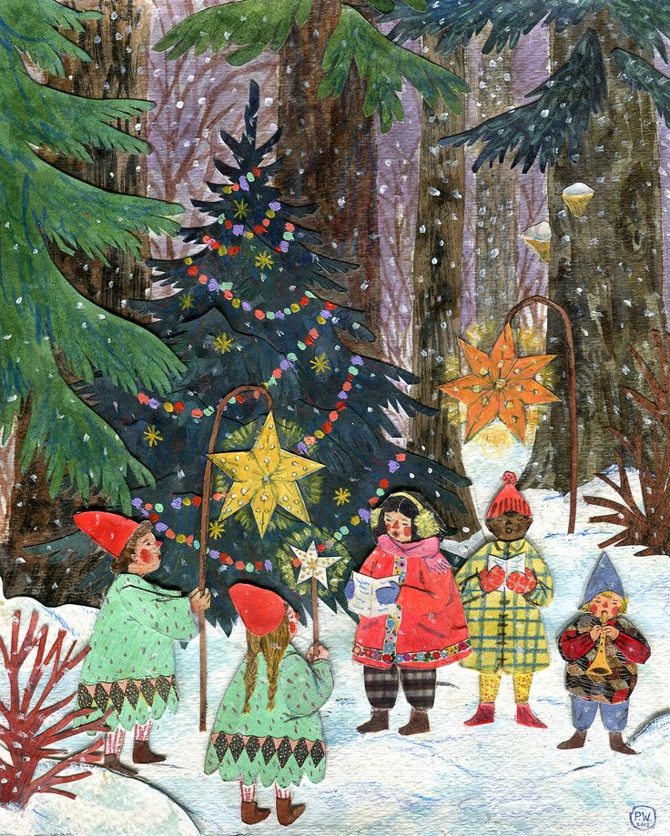 """Forest Carols"" Watercolor, gouache, collage & colored pencil. Phoebe Wahl 2013."