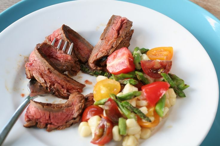 Grilled Ancho-rubbed flank steak with tomato, corn and asparagus salad ...