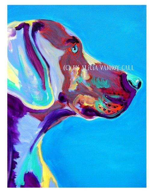 Colorful Pet Portrait Weimaraner Dog Art Print by dawgpainter