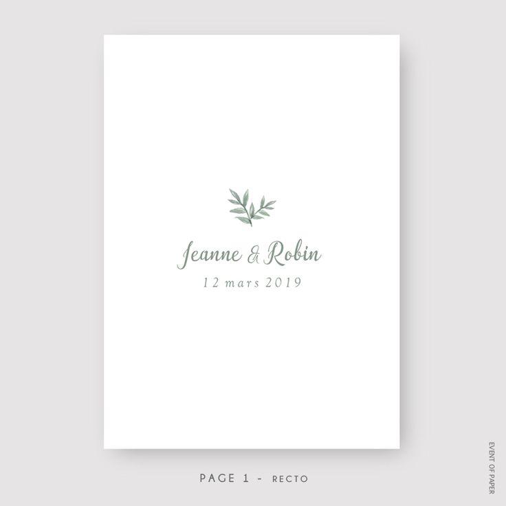 Très chic, le faire-part de mariage Jeanne et Robin valorise un raffinement naturel et une élégante sobriété.