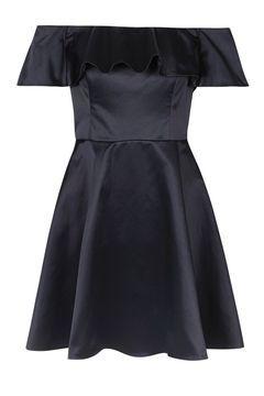 PETITE Satin Frill Bardot Prom Dress