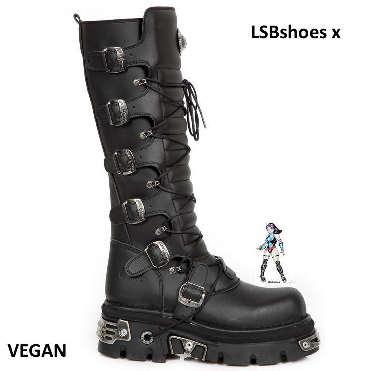 New Rock Damen Boots Stiefelette Vegan gothic schwarz M.714-C12  30 Tage