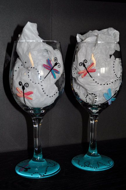 Pair of Hand Painted Dragonfly Wine Glasses by simplyjdesigns