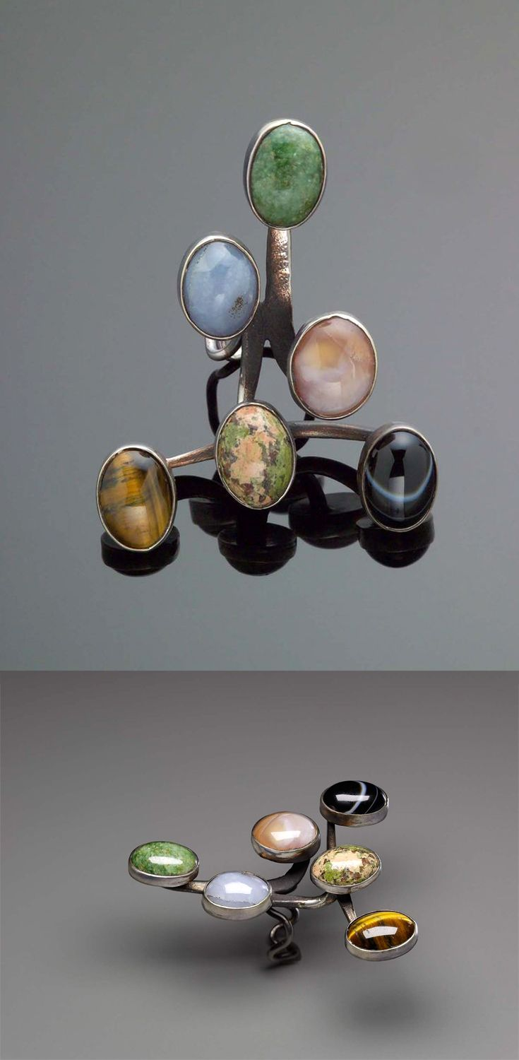 Ring | Art Smith.  Sterling silver with six different semi-precious stones.  ca. 1958