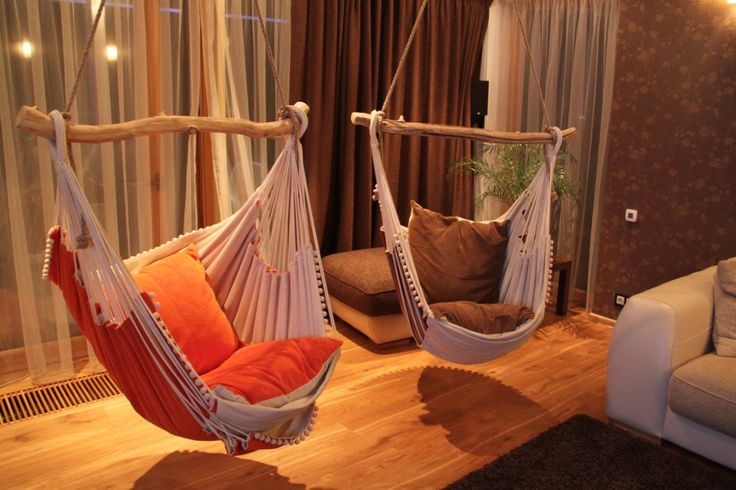 Beautiful indoor hammocks that will liven up any room, creating an enchanting feeling.  Image (via Etsy)