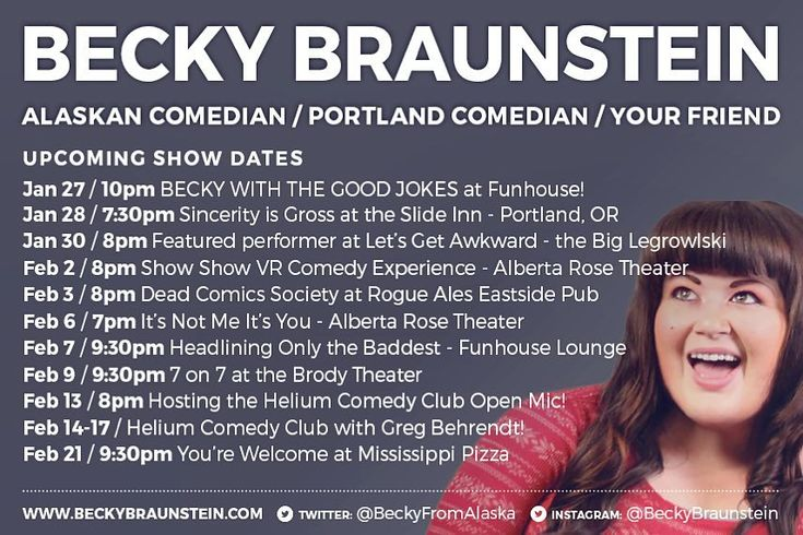New upcoming shows! Includes exciting VR gaming / comedy at @showshowlabs the It's Not Me It's You benefit show for @plannedparenthood & @helium_pdx with Greg Behrendt!  . . . #comedy #portland #comedian #show #standup #standupcomedy #pdx #pdxevents #helium #vr #gaming #plannedparenthood #alaska #alaskan #theater #improv #beckywiththegoodjokes