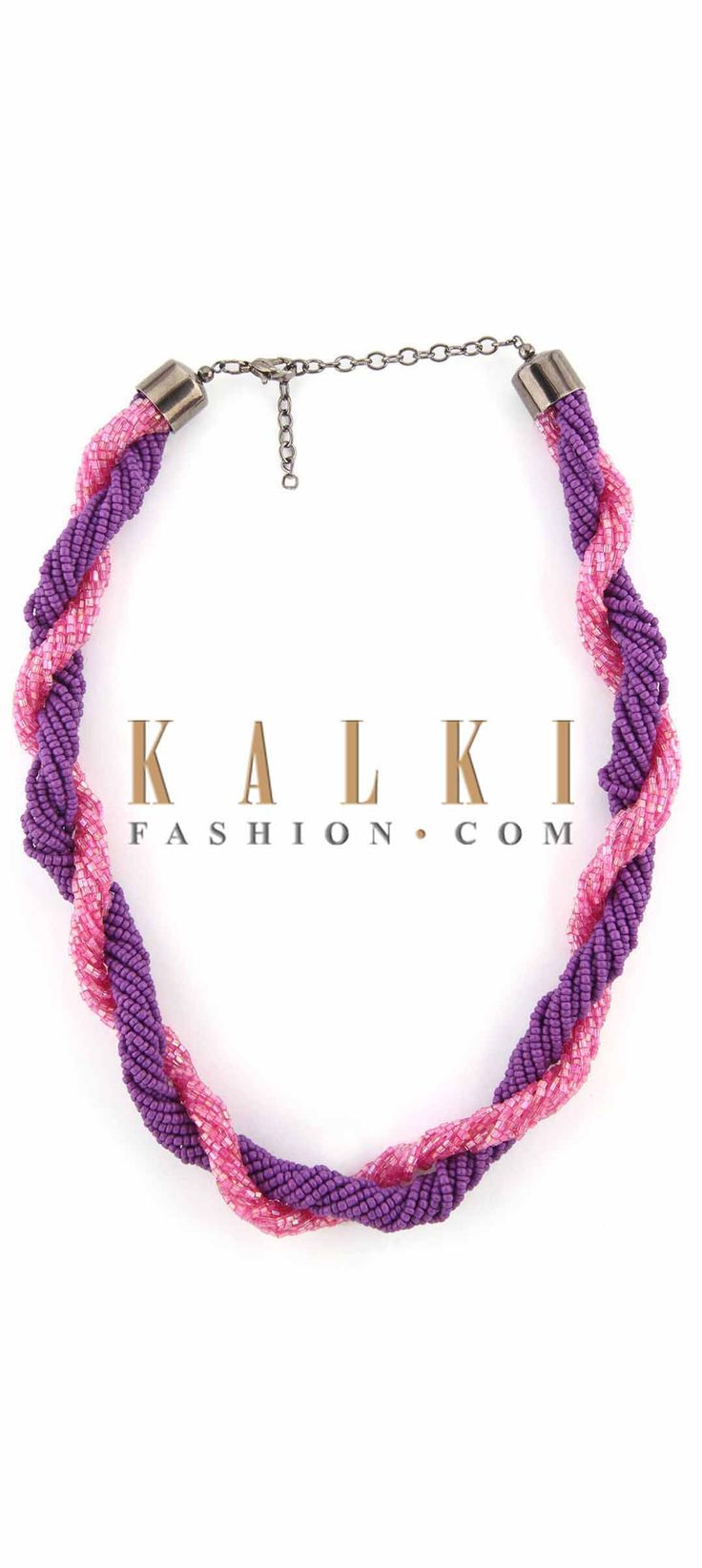 Buy Online from the link below. We ship worldwide (Free Shipping over US$100) Price-$19 Click Anywhere to Tag http://www.kalkifashion.com/pink-and-purple-moti-embellished-necklace-only-on-kalki.html