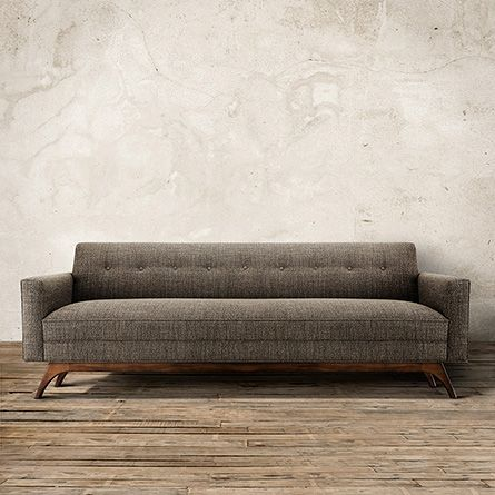 """Clean, unfettered curves & geometric shapes merge to create the Arhaus Brekan 90"""" Upholstered Sofa in Tribeca Pewter. Handcrafted in America! Pinned it to remember STORE!!!!!"""