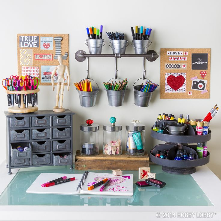 If art supplies have taken over your desk, clean it up with buckets, baskets, and storage solutions!