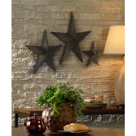 Punched Bronze Metal Star Wall Decor Set Of 3 Deco