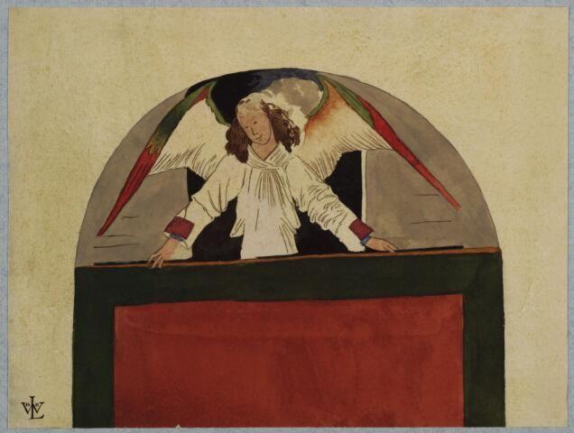 Afbeelding van een muurschildering in de Jacobikerk te Utrecht: een engel die een tapijt vasthoudt, op de oostmuur van de O.L. Vrouwekapel.1882