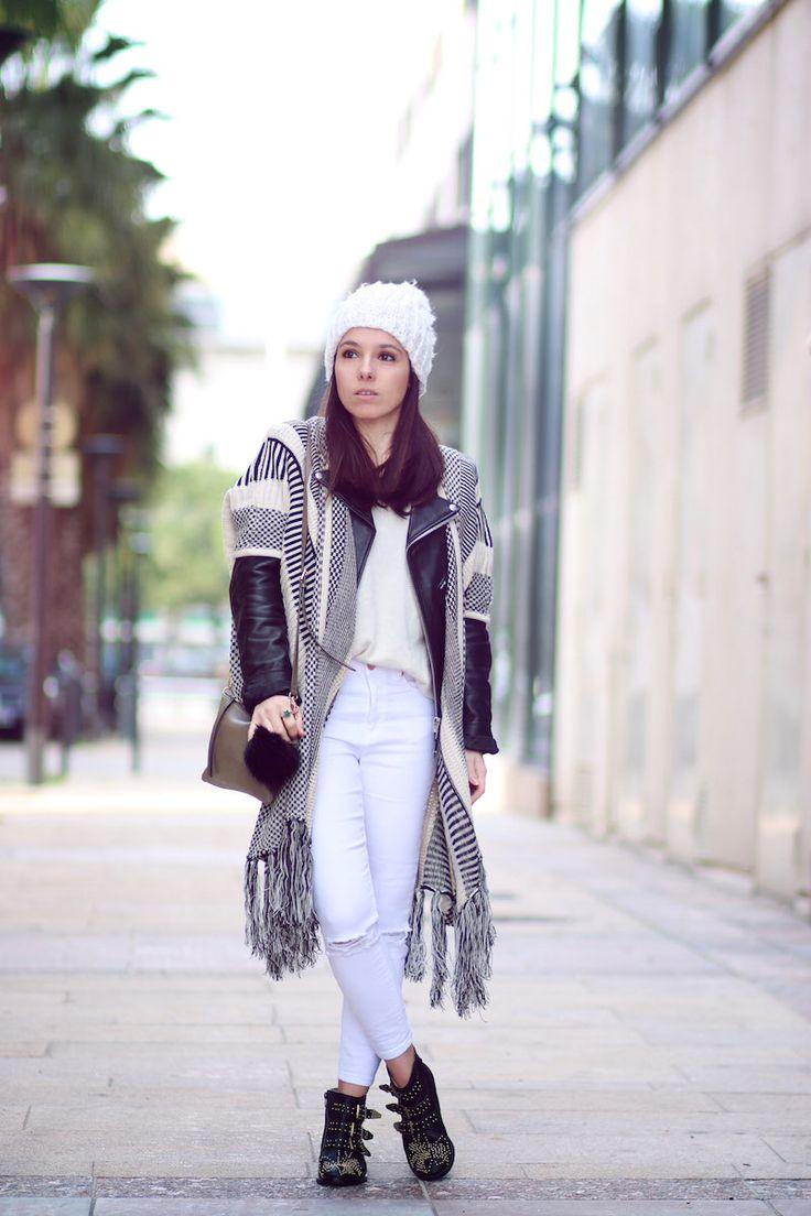 cape poncho boho romwe veste en cuir schott jean blanc d chir asos bottines clous style chlo. Black Bedroom Furniture Sets. Home Design Ideas