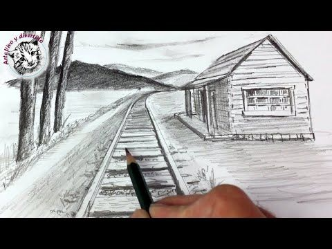How To Draw An Easy Landscape In 1 Point Perspective Step By Step Narrated In Spanish Youtube Perspectiva De Un Punto Paisaje A Lapiz Paisajes Dibujos