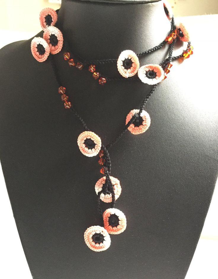 Misto di stile turco pesca perline collana di GabyCrochetCrafts