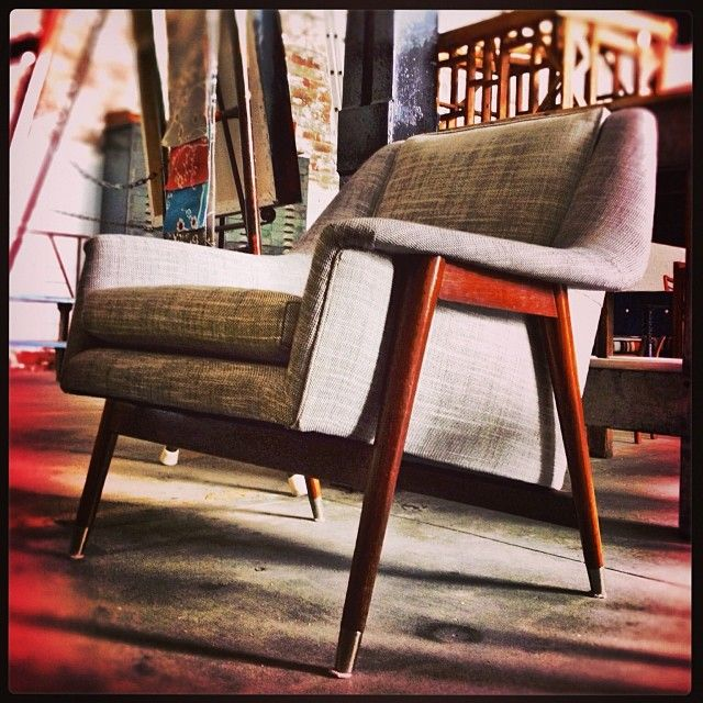 Check out this beauty. Newly upholstered with blackbean legs.