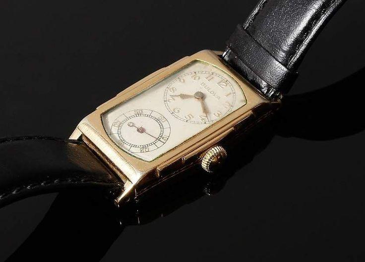 """Herrenarmbanduhr, Bulova """"Doctor`s Watch"""", Gehäuse Stahl, vergoldet (""""10K gold filled""""), schlanke, — Uhren (Armbanduhren)"""