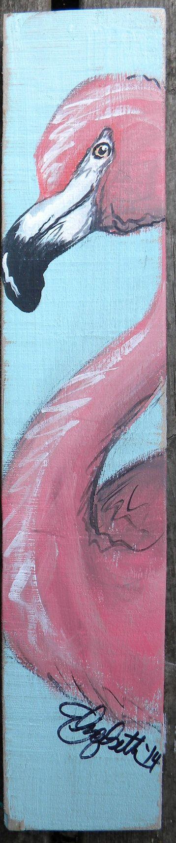 pallet and barn wood art Flamingo by elizabethandcoart on Etsy