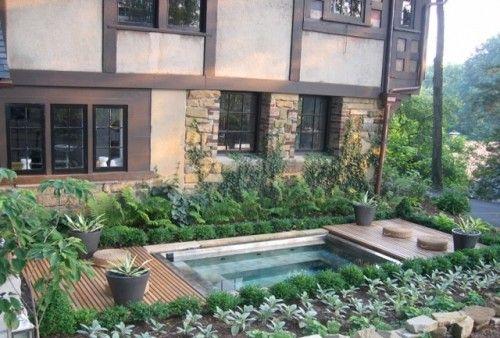 Hot tub oasisSmall Pools, Backyards Pools, Decks, Small Backyards, Dreams Backyards, Contemporary Exterior, Sunken Hot Tubs, Pools Design, Spa