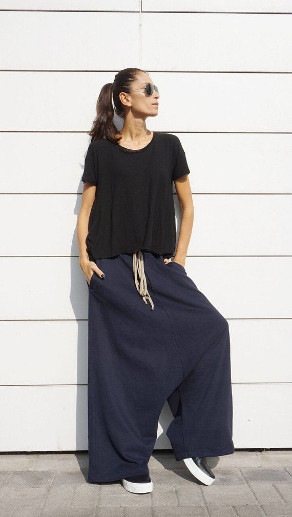 SALE NEW Fall Winter Collection Cotton Navy Harem Pants /