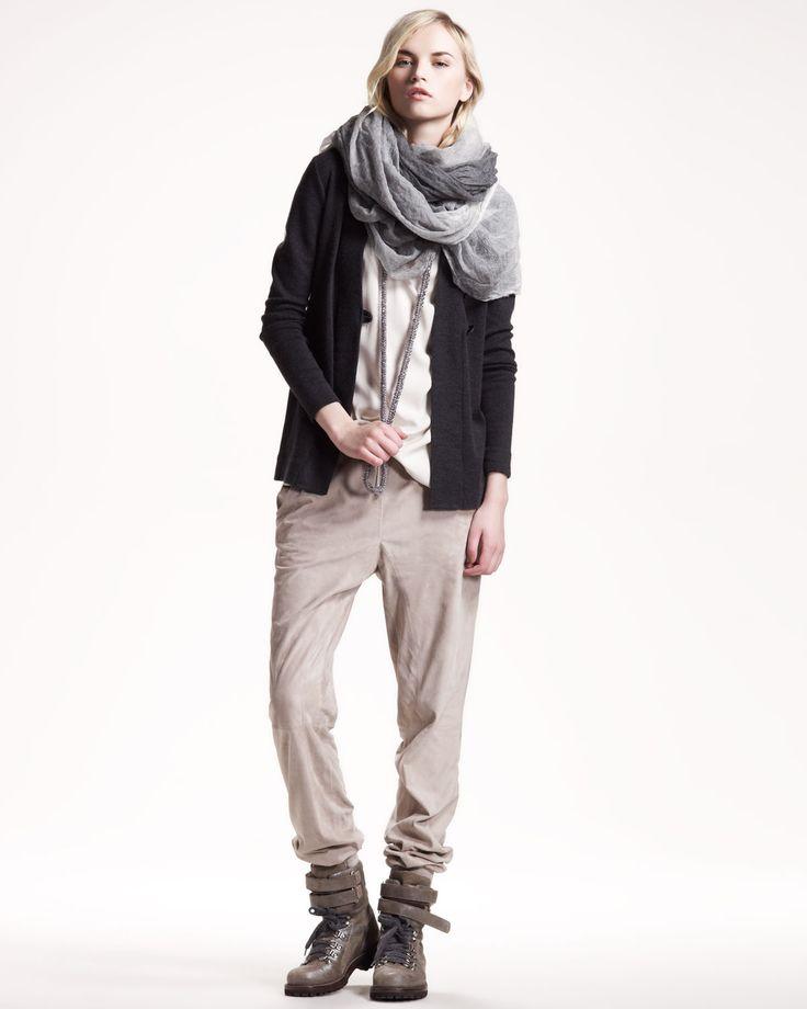 Brunello Cucinelli, Asymmetric Cardigan, Reversible Silk Camisole & Suede Sweatpants.