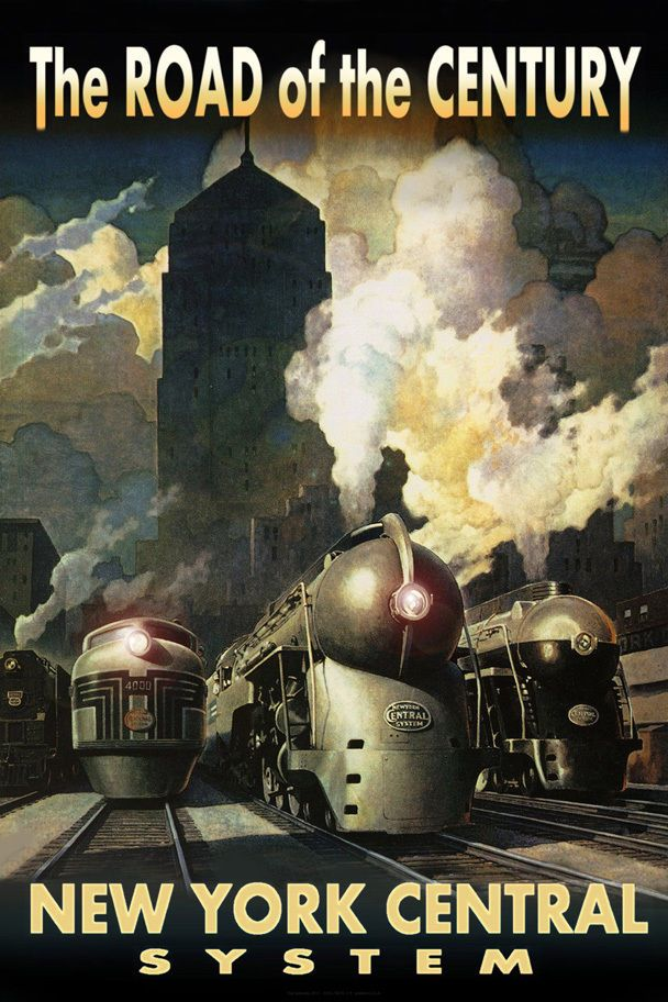 New York Central Railroad Streamliners Poster Chicago Train Art Deco Print 218-  | eBay