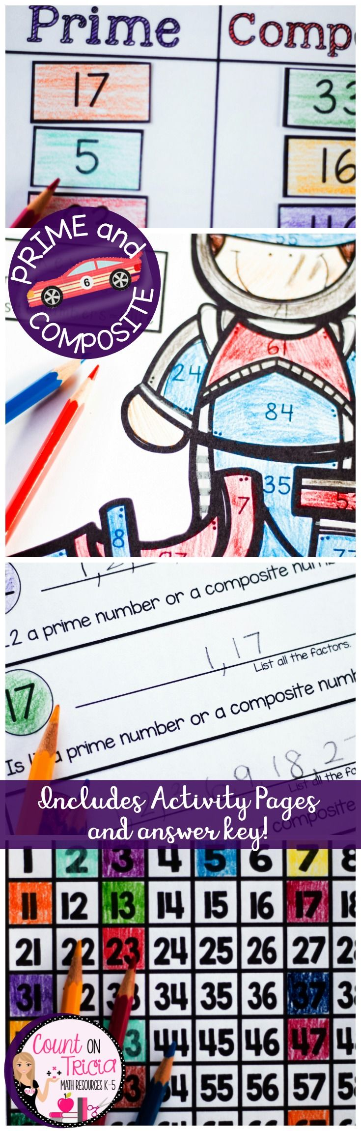 Practice learning Prime and Composite Numbers with these timesaving, engaging and fun practice activities for 5th Grade Math. Great idea for math centers, math stations and enrichment activities .
