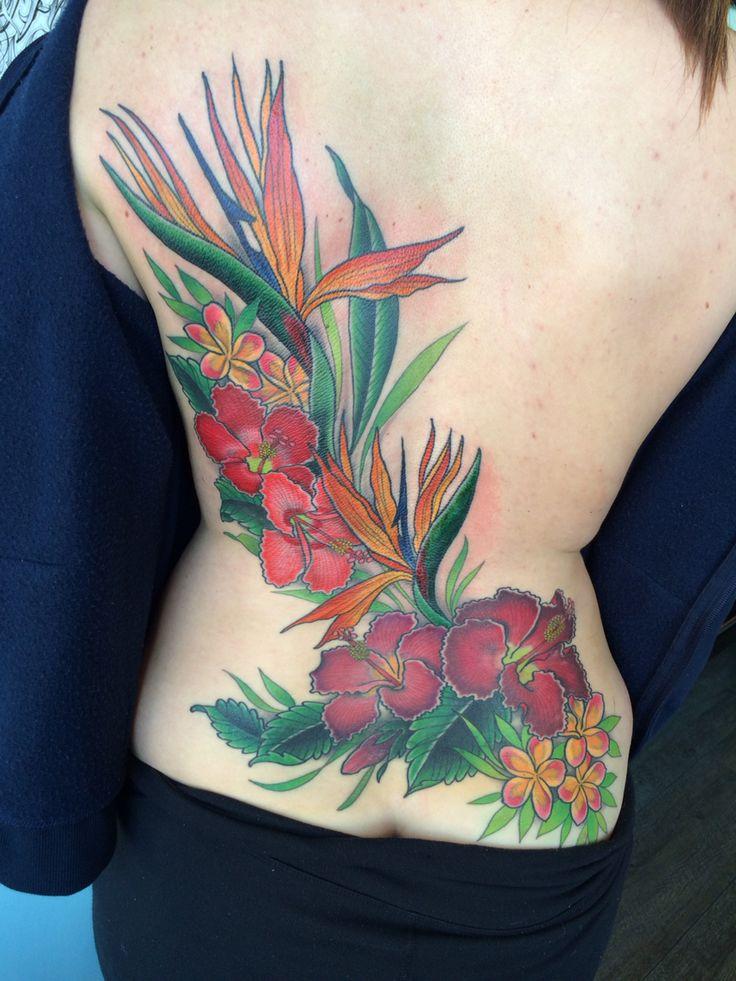 Bird of paradise, plumeria, hibiscus tattoo hawaiian