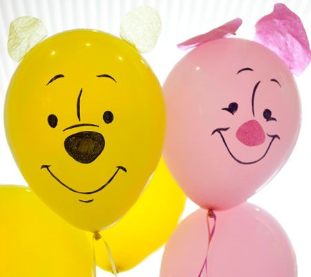 With just a few supplies, you can turn regular balloons into your favorite characters, like these precious Pooh and Piglet decorations (Photo: Miranda Becker, Disney Baby)