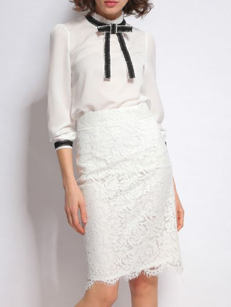 Shop White Bowtie Top With Lace Skirt online. SheIn offers White Bowtie Top With Lace Skirt & more to fit your fashionable needs.