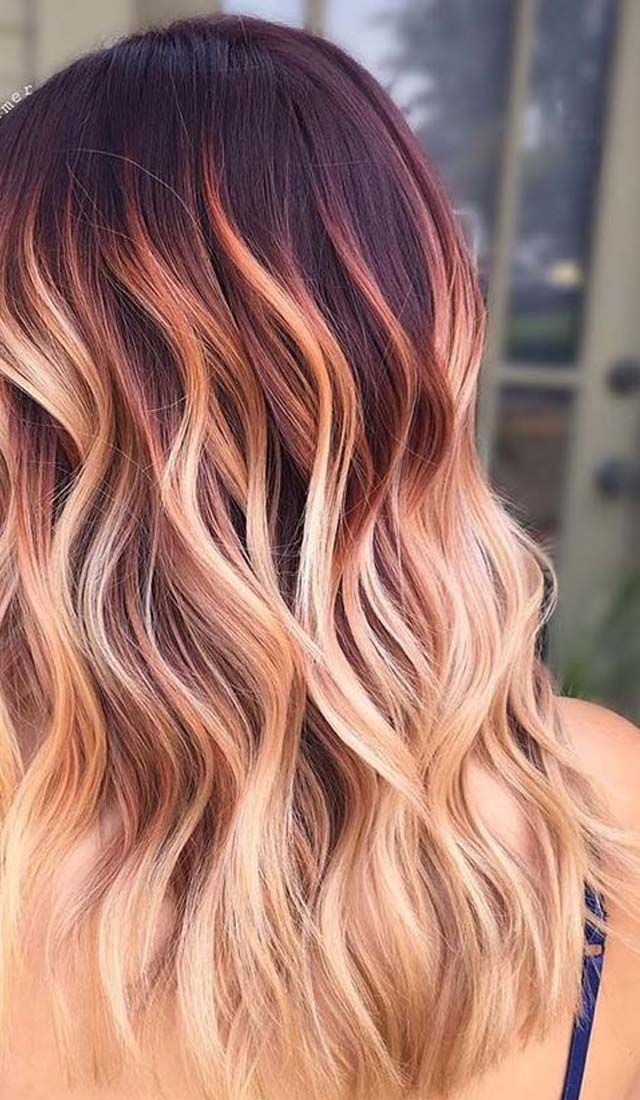 Dark At Top And Soft Rose Tones At The Bottom Ombre Hair Blonde Cool Hair Color Ombre Hair Color